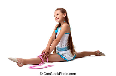 child doing split with skipping rope isolated