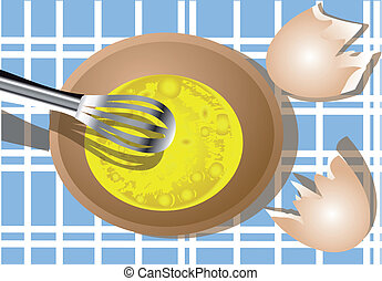 scrambled eggs - the scrambled eggs in a wooden plate