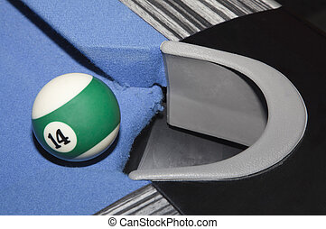 Ball 14 - The ball 14 before falling into the hole in the...