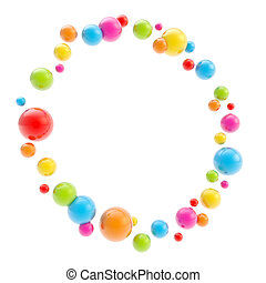 Round circle copyspace frame made of glossy spheres