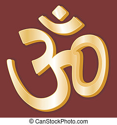 Hinduism Symbol - Golden symbol of Hindu faith on crimson...