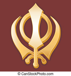 Sikh Symbol - Golden Sikh Khanda symbol of the Sikh faith on...
