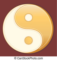 Tao Symbol - Golden Yin Yang mandala of Tao belief on...