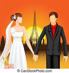 Couple near Eiffel Tower