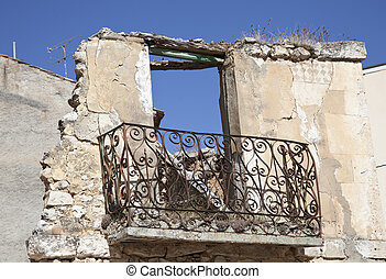 balcony of a ruined house  - balcony in ruins