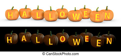Halloween text carved on pumpkin jack lantern isolated on...