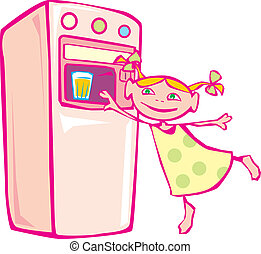 Little girl and vending machine. Vector illustration.