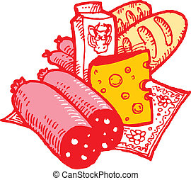 Foods and drinks. Vector illustration. THAT PARTICULAR...