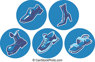Icon set of shoes Vector illustration