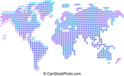 Dotted abstract worldmap with offset - Map of the World in...