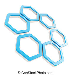 Six part composition made of hexagon segments isolated - Six...