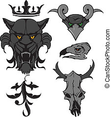 Animal heads and skulls with crown and ornament. Vector...