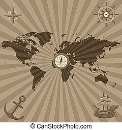 World map with nautical symbols - Map of the World with...