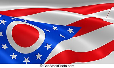 Ohioan flag in the wind. Part of a series.