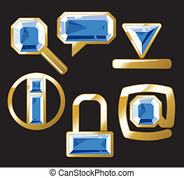Gem icons with sapphire and gold - Sapphire internet and...