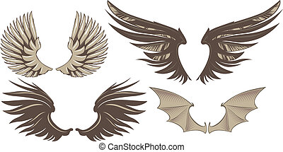 Wings - Set of decorative wings. Vector Illustration.