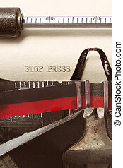 "Stop Press - \""STOP PRESS\\\"" typed on aged paper in..."