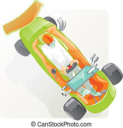 Driver racing in sportcar with computer Vector illustration...