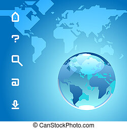 Globe and website icons on blue background of World map