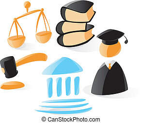 Smooth law icons - Set of smooth and glossy law icons Vector...