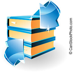 Arrow and books Vector illustration