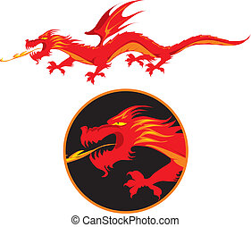 Red dragon - Red winged fire-spitting dragon. Vector...