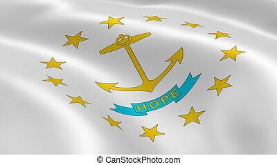 Rhode Islander flag in the wind