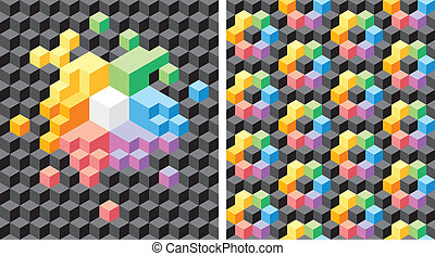 Background with black and multicolored cubes - Two...