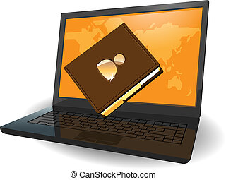 Laptop and notebook - Laptop with map of the World on screen...