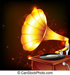 Gramophone - illustration of antique gramophone on abstract...