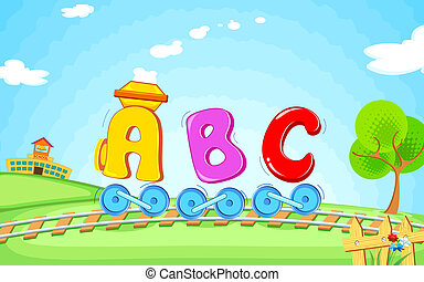 ABC train - illustration of locomotive train made of abc