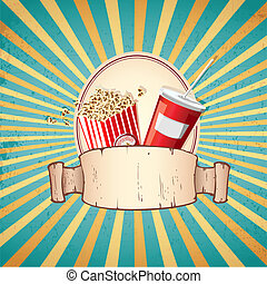 Cold Drink and Pop Corn - illustration of cold drink and pop...