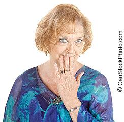 Blushing Grandmother - Blushing Caucasian grandmother with...