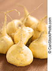 Maca Roots - Fresh maca roots or Peruvian ginseng (lat....