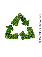Recycle icon made of green leaves - Recycle icon made of...