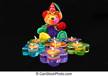 Birthday Bash - Happy Birthday teddy bear sits in front of...