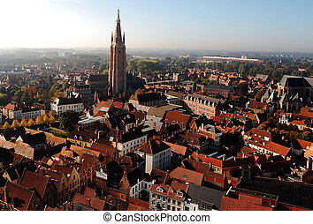 View from the Brugge Tower - Panoramic view of Brugge from...
