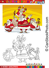 Cartoon Santa Claus Group for Coloring - Coloring Book or...