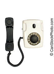 Old disk phone on white background