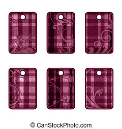 Plaid tags with ornaments