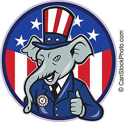Republican Elephant Mascot Thumbs Up USA Flag - Illustration...