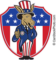 Democrat Donkey Mascot Thumbs Up Flag - Illustration of a...