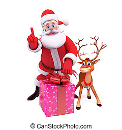 santa claus, reindeer and gift box - 3d art illustration of...