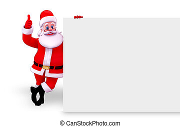 santa claus standing near white sig - 3d art illustration of...