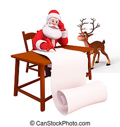 Santa with reindeer and gift list - 3d art illustration of...