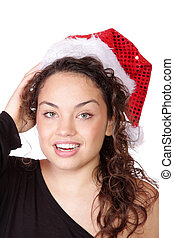 young woman wearing christmas hat