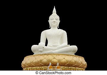 White buddha black isolated