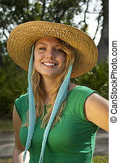 Young Woman in Green Shirt and Stra - seventeen year old...