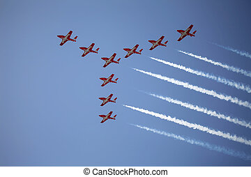 Air Show - The view of the jet planes in formation on the...