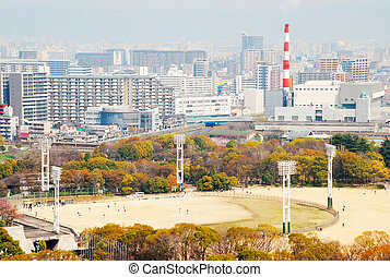 view of Osaka City - view of Osaka city with Osaka Castle...